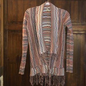 BKE Ginger G fringed striped sweater size small